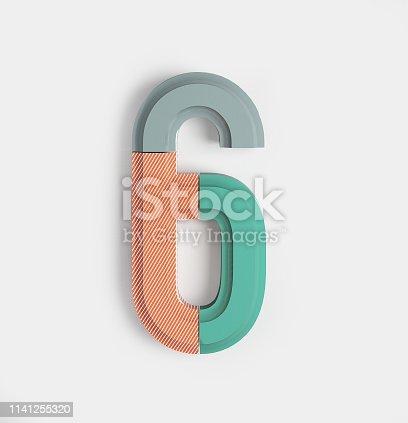 istock Geometric Vivid Font. Number 6 1141255320