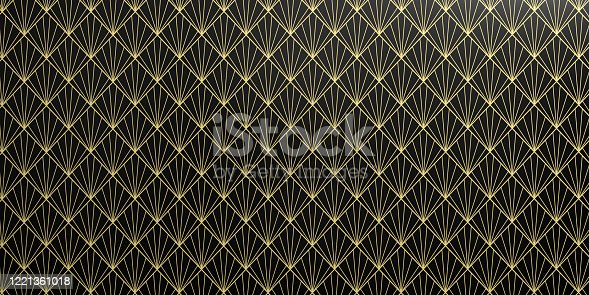 istock Geometric Wallpaper pattern in black and yellow color. Seamless background, shiny texture. 3d illustration 1221361018