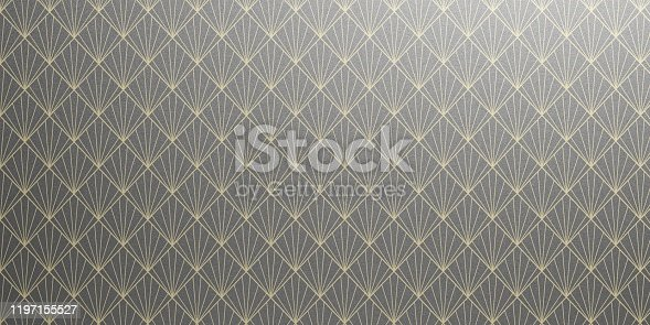 istock Geometric Wallpaper pattern in gray black and yellow color. Seamless background, shiny texture. 3d illustration 1197155527