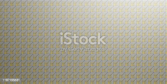 istock Geometric Wallpaper pattern in silver and yellow color. Seamless background, shiny texture. 3d illustration 1197155531