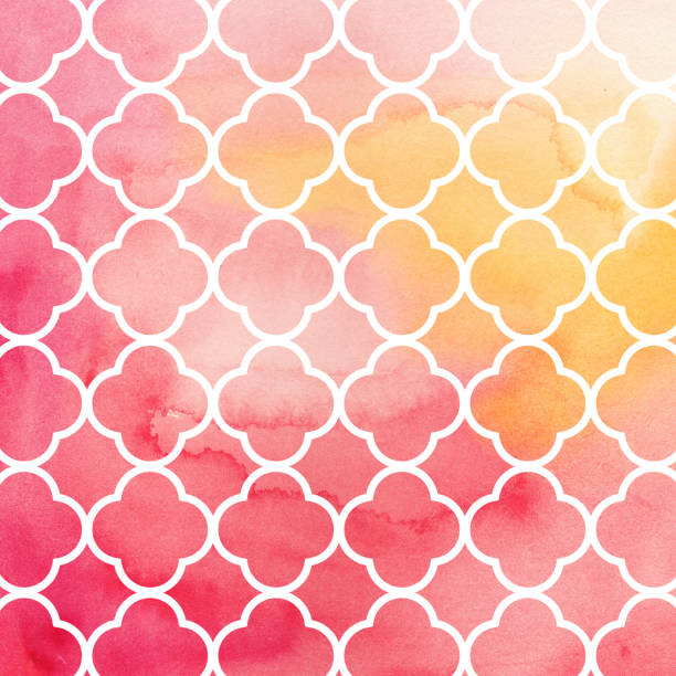 Geometric watercolour pattern red background. Hand drawn illustration. Texture template. stock photo