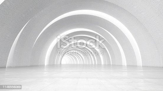 Geometric White Corridor. 3d Render