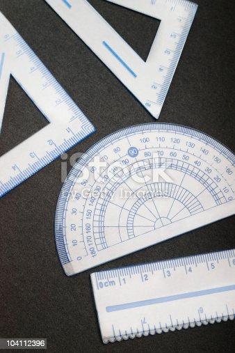 istock geometrical measuring tools on black 104112396