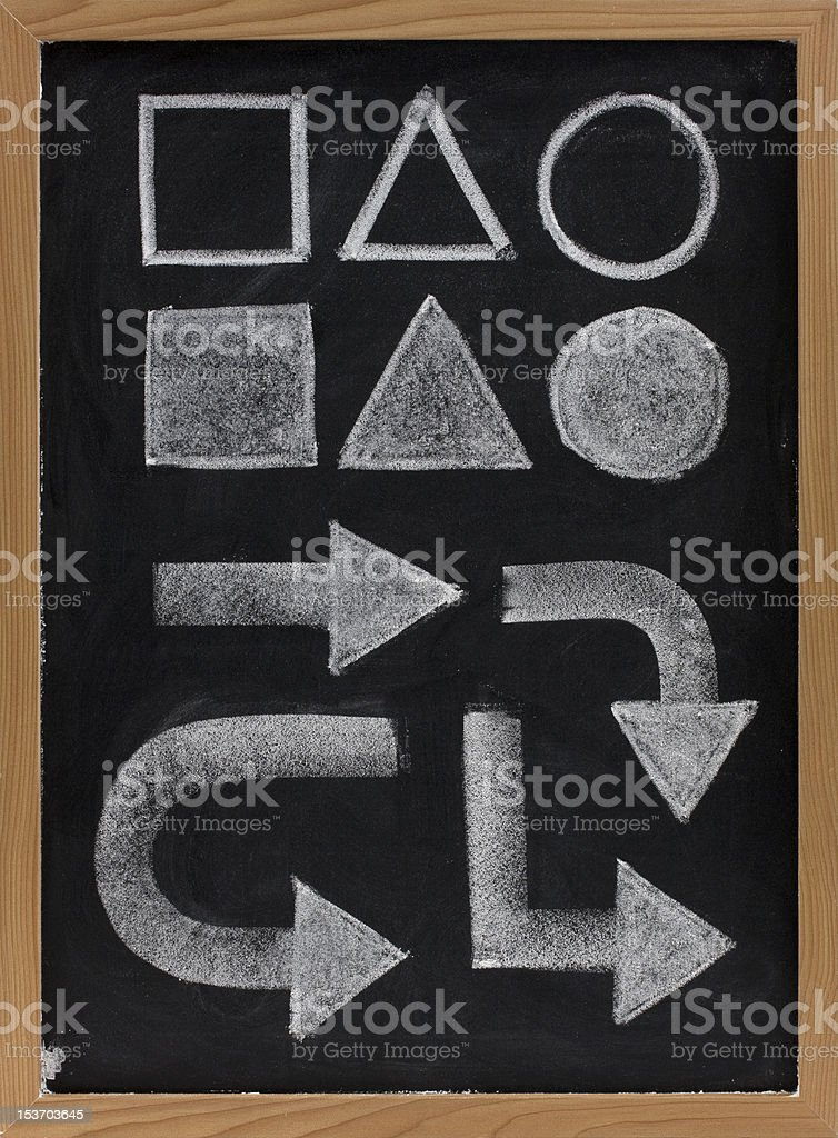 geometrical shapes and arrows - white chalk on blackboard royalty-free stock photo