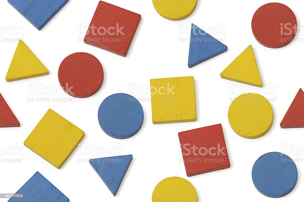 Geometrical wooden shapes stock photo