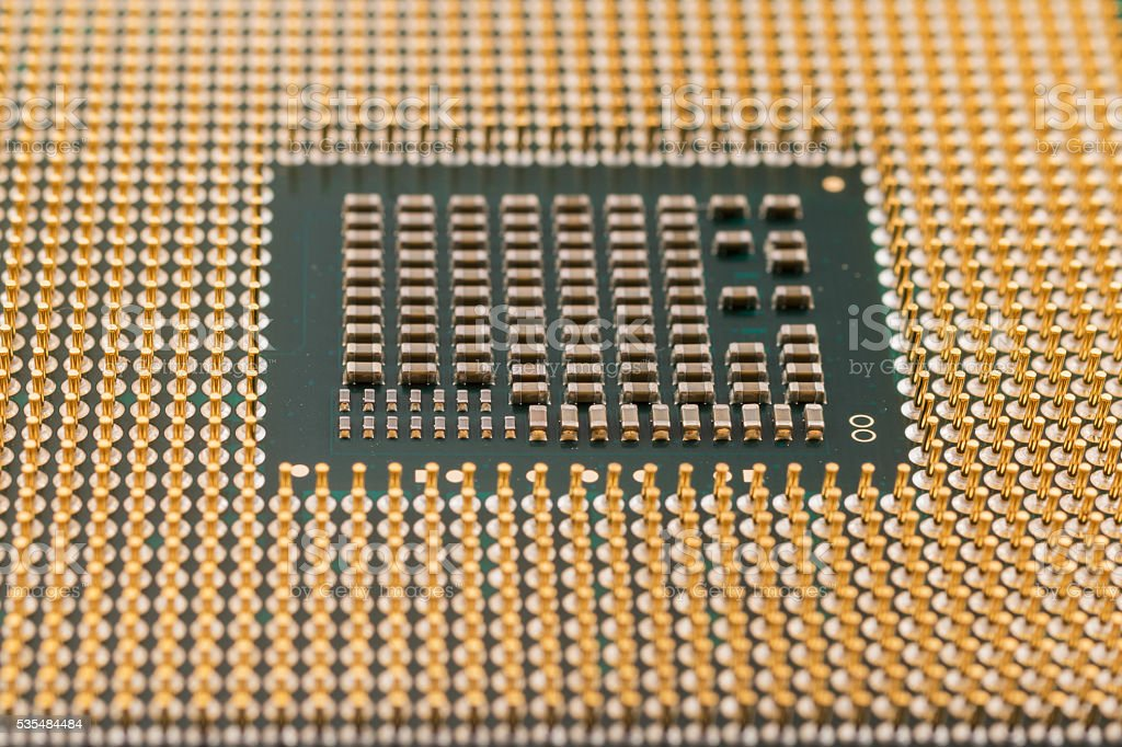 Geometry electronics, closeup of CPU Processor Chip, view from the stock photo