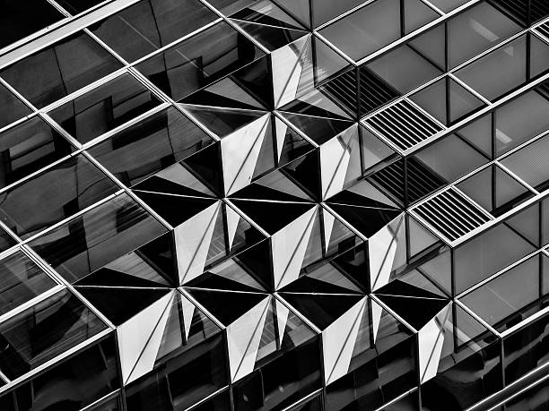 Geometry in architecture in black and white, detail stock photo