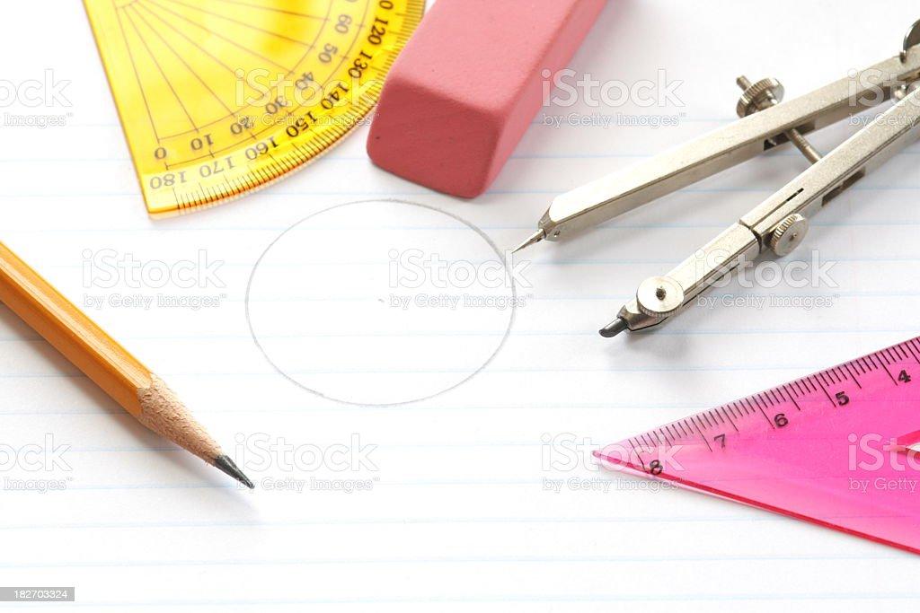 Geometry School Supplies royalty-free stock photo