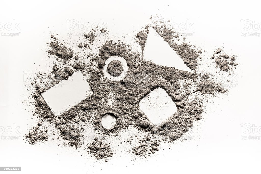 Geometry Shape Square Triangle Circle In Scattered Dust Ash Sand