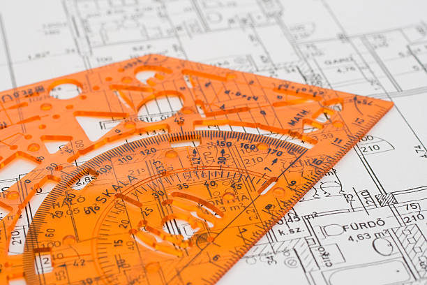 Geometry template on a ground plan stock photo