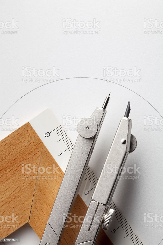Geometry tools. Drawing compass with ruler. royalty-free stock photo