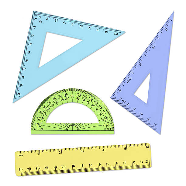geometry tools - rulers and protractor - ruler stock photos and pictures