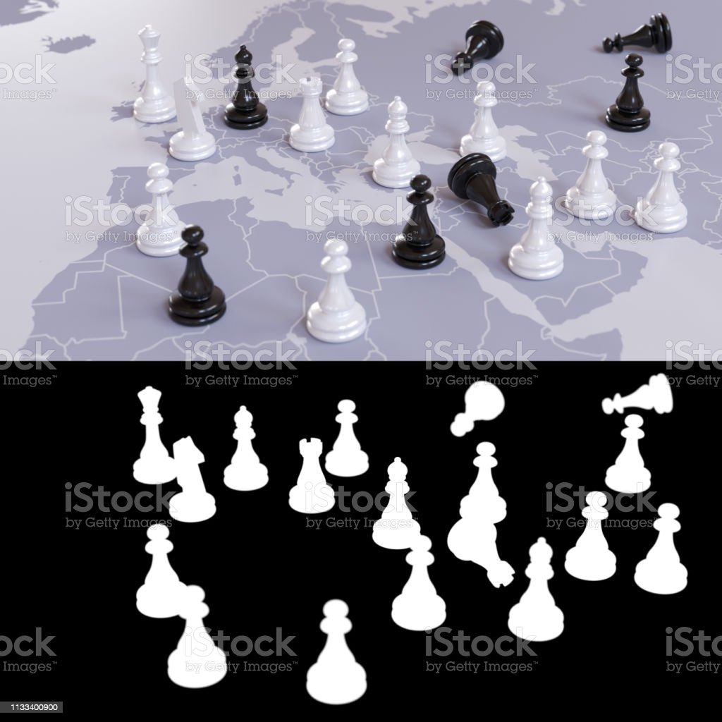 Geopolitical chess game stock photo