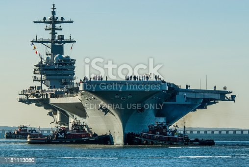 istock USS George H.W. Bush being moved out of Northrop Grumman Shipbuilding. 1181113080