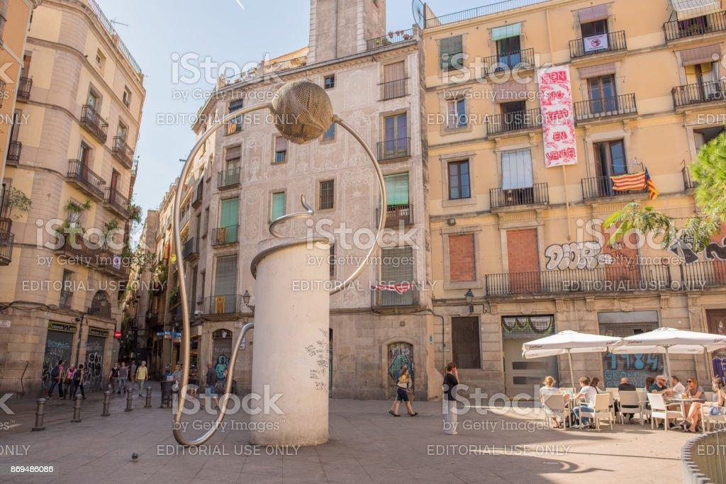 George Orwell Plaza in Barcelona stock photo