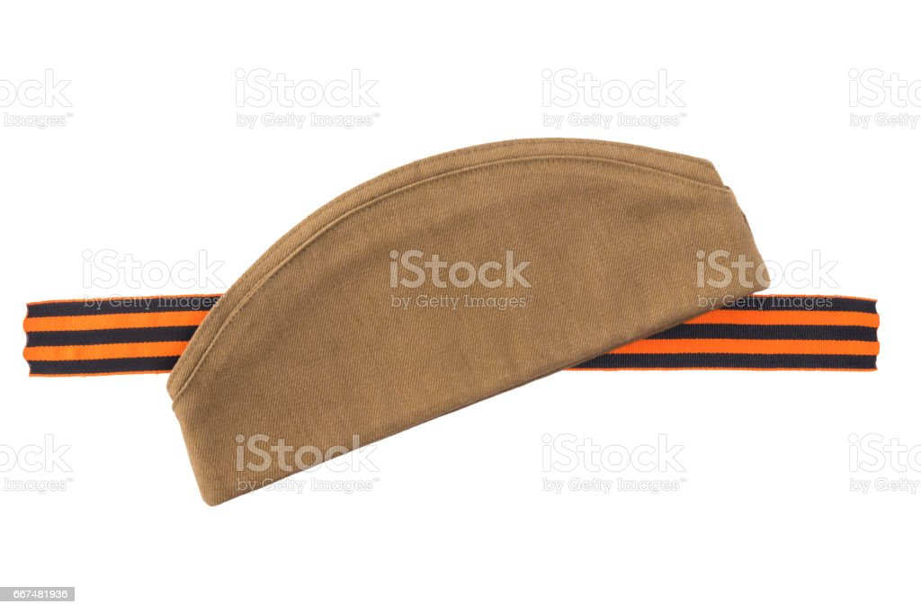 George Ribbon and hat isolated on white background stock photo