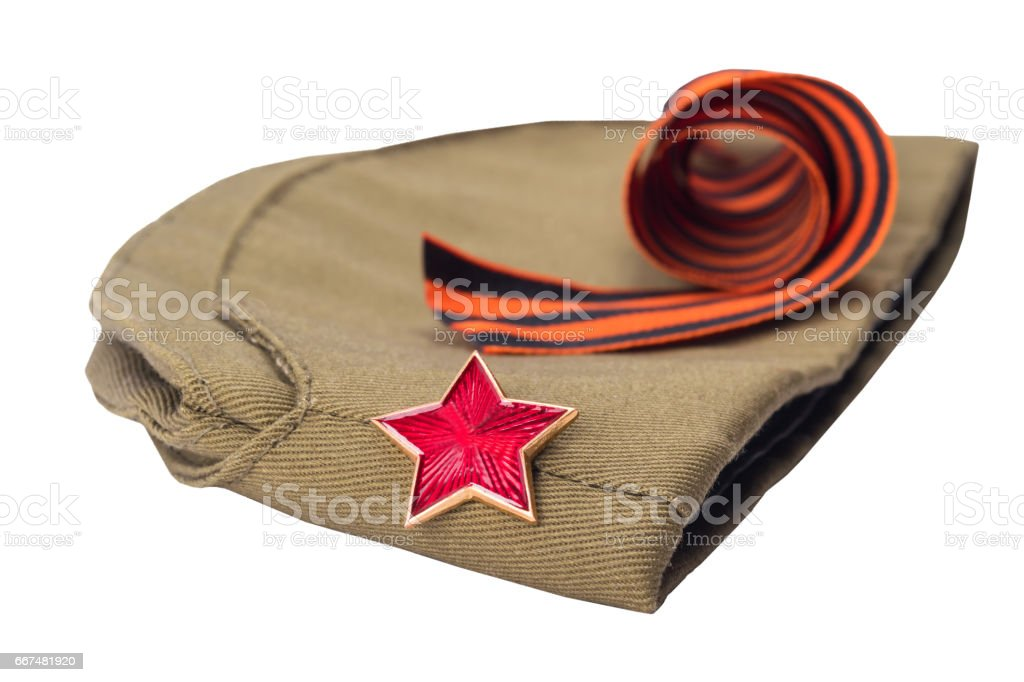 George Ribbon and hat with a red star on white background, isolated stock photo