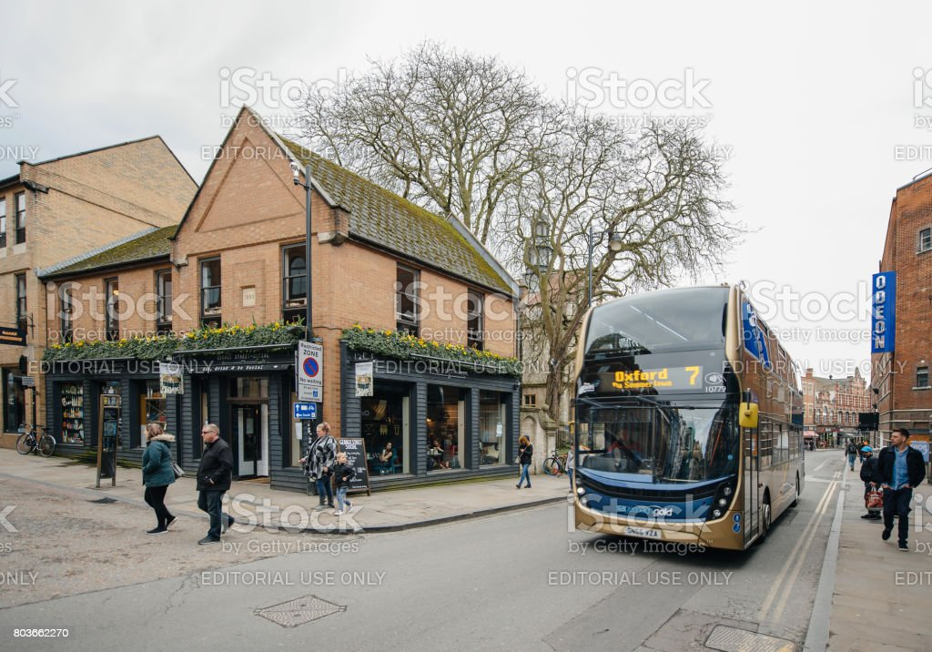 George Street Social Pub and doube-decker bus in Oxford stock photo