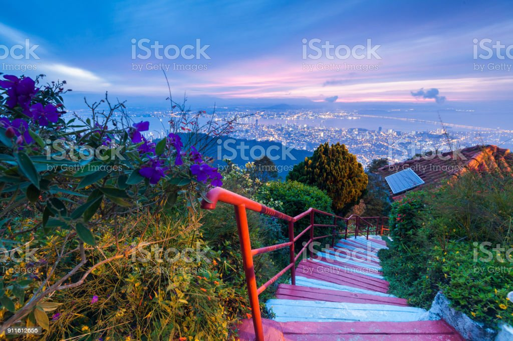 George Town City view from Penang Hill during dawn stock photo