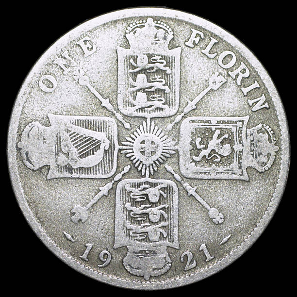 florin old english coin george v 1921 (reverse) - whiteway money stock photos and pictures