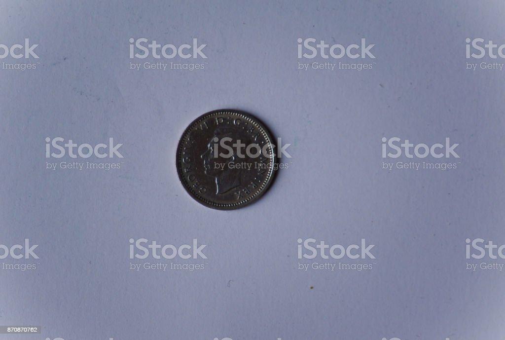 George VI shilling coin stock photo