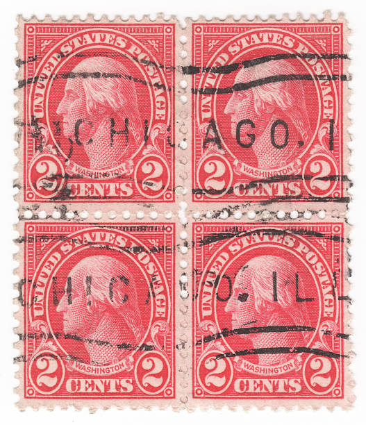 George Washington 2 cent red colored stamp block stock photo