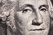 George Washington, a close-up portrait on US one dollar