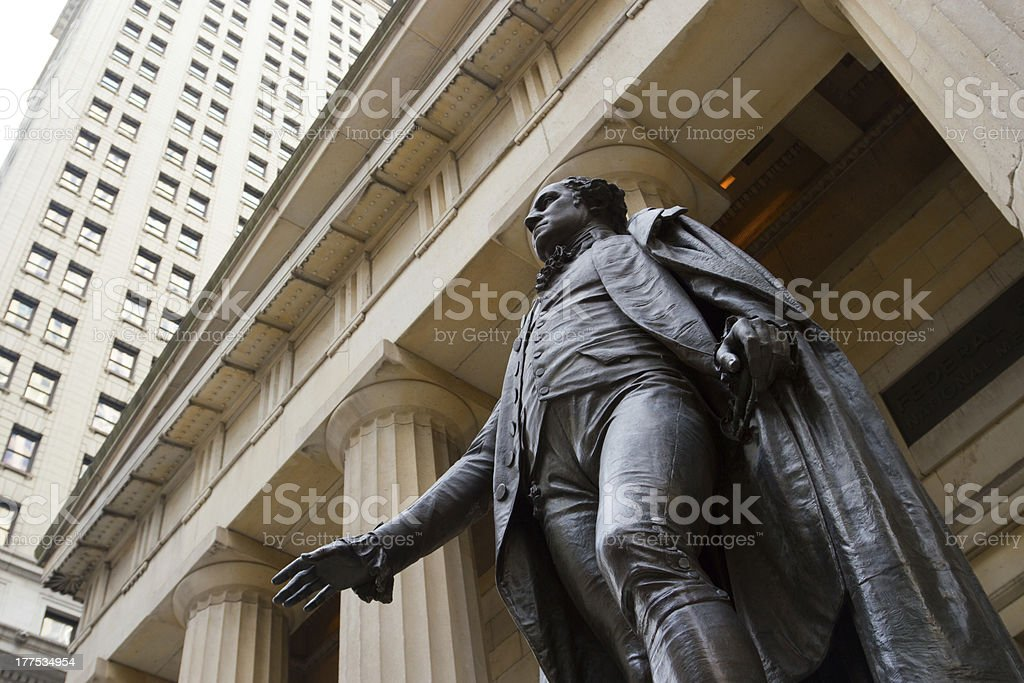 George Washington at the Federal Hall on Wall St., NY stock photo
