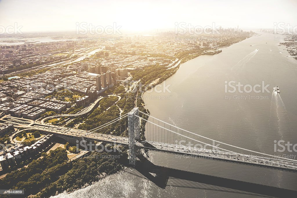 George Washington Bridge and Manhattan aerial view stock photo