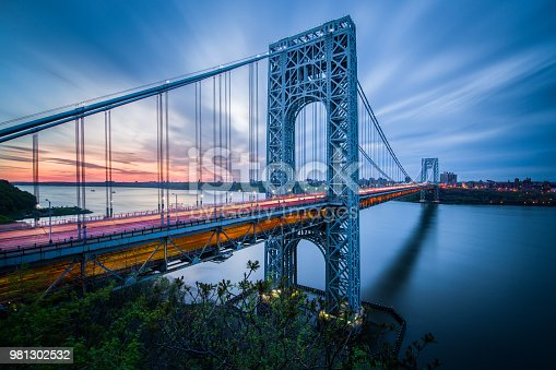 A long exposure of the George Washington Bridge taken at sunrise.