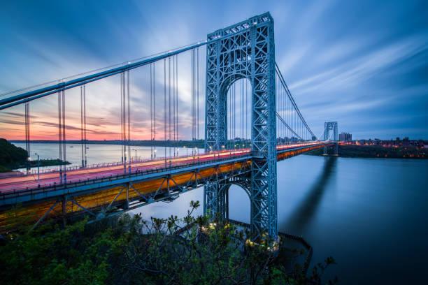 buraya george washington köprüsüne gündoğumu - bridge stok fotoğraflar ve resimler