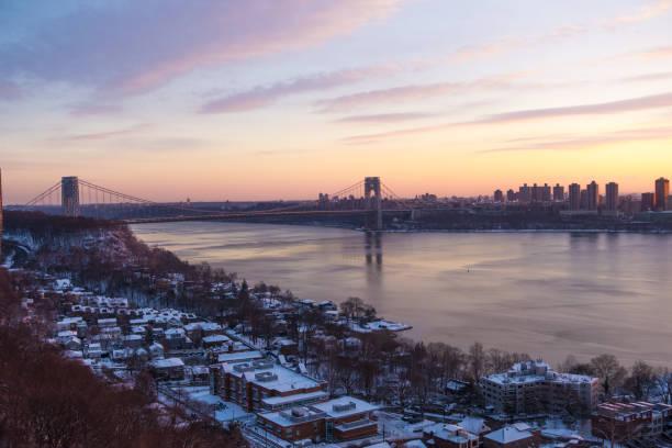 George Washington Bridge Winter Dawn stock photo