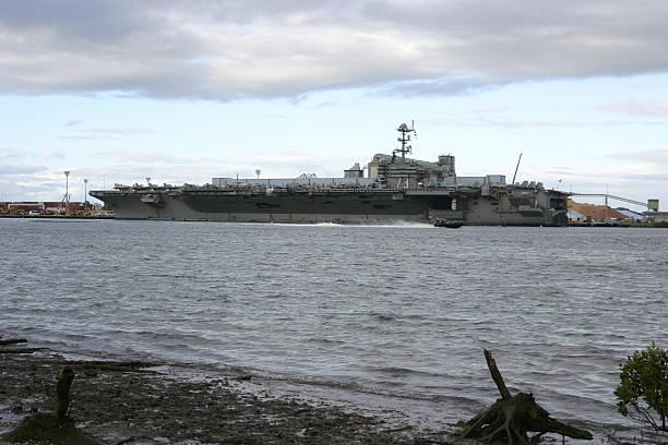 USS George Washington Docked at Port of Brisbane stock photo
