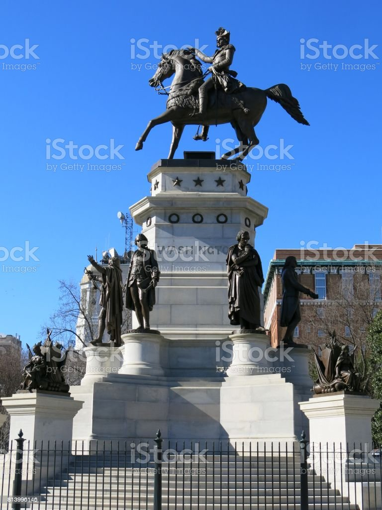 George Washington Equestrian Monument State Capitol Building Statehouse Richmond Virginia stock photo