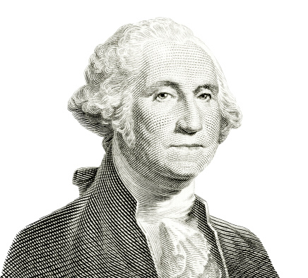 The familiar George Washington portrait of US one dollar banknote isolated on white. Carefully edited and color corrected for fit with the white background instead of original dark one. A tiny bit of original cream color of the paper left intact, easily removed by desaturating if undesirable.