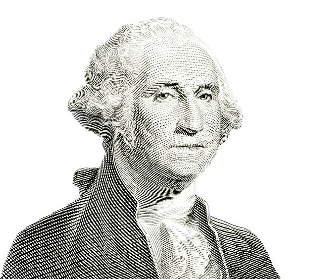 George Washington Isolated The familiar George Washington portrait of US one dollar banknote isolated on white. Carefully edited and color corrected for fit with the white background instead of original dark one. A tiny bit of original cream color of the paper left intact, easily removed by desaturating if undesirable. us president stock pictures, royalty-free photos & images