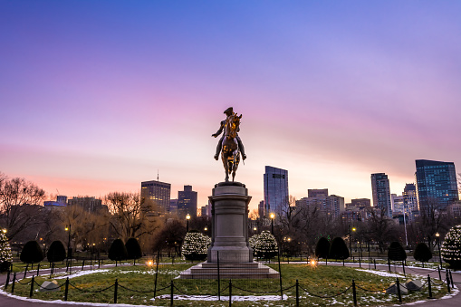An equestrian statue of George Washington by Thomas Ball is installed in Boston's Public Garden, in the U.S. state of Massachusetts.