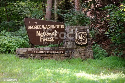 Brandywine, West Virginia, USA - August 11, 2020: Sign for George Washington National Forest located along Blue Gray Trail Highway 33 near Brandywine, West Virginia.