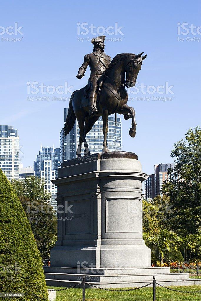 George Washington on horse statue in Boston Public Garden royalty-free stock photo