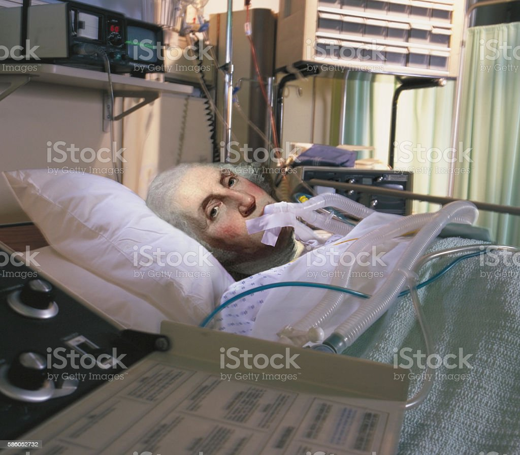 George Washington on life support stock photo