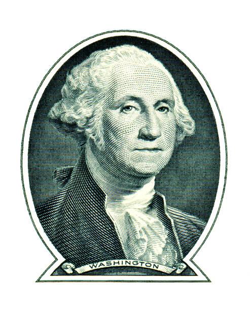 George Washington on one dollar isolated on white background stock photo