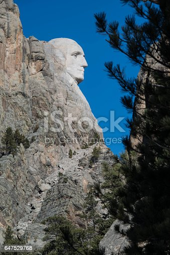 George Washington Profile on Mount Rushmore in Black Hills of South Dakota