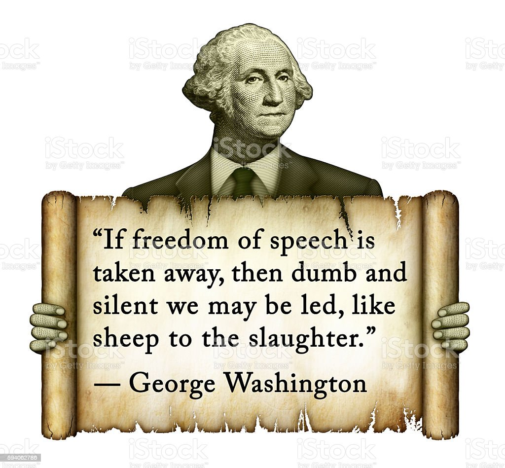 George Washington Quote on Freedom of Speech stock photo