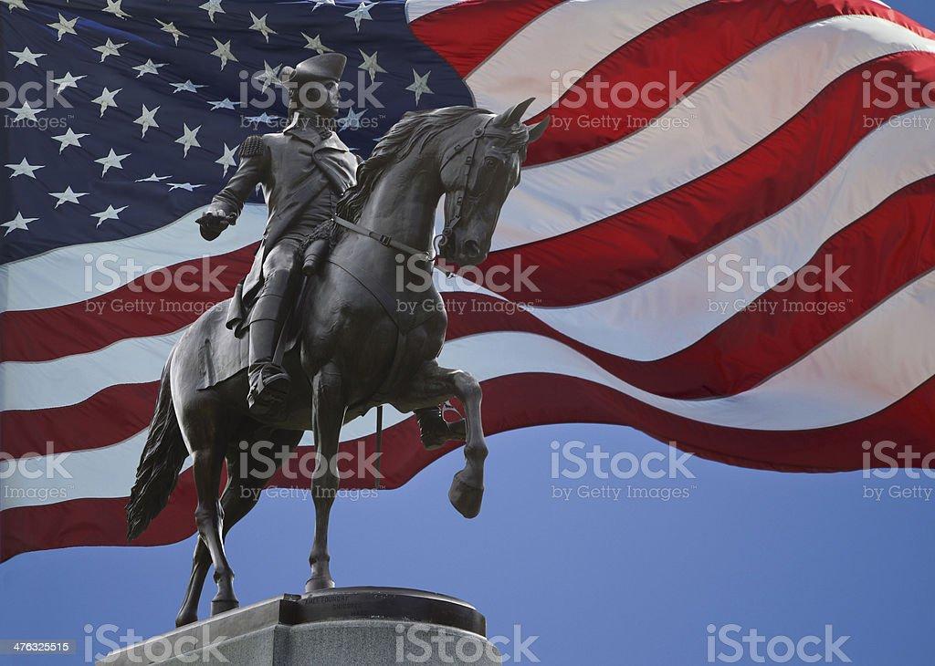 George Washington Statue and US Flag stock photo