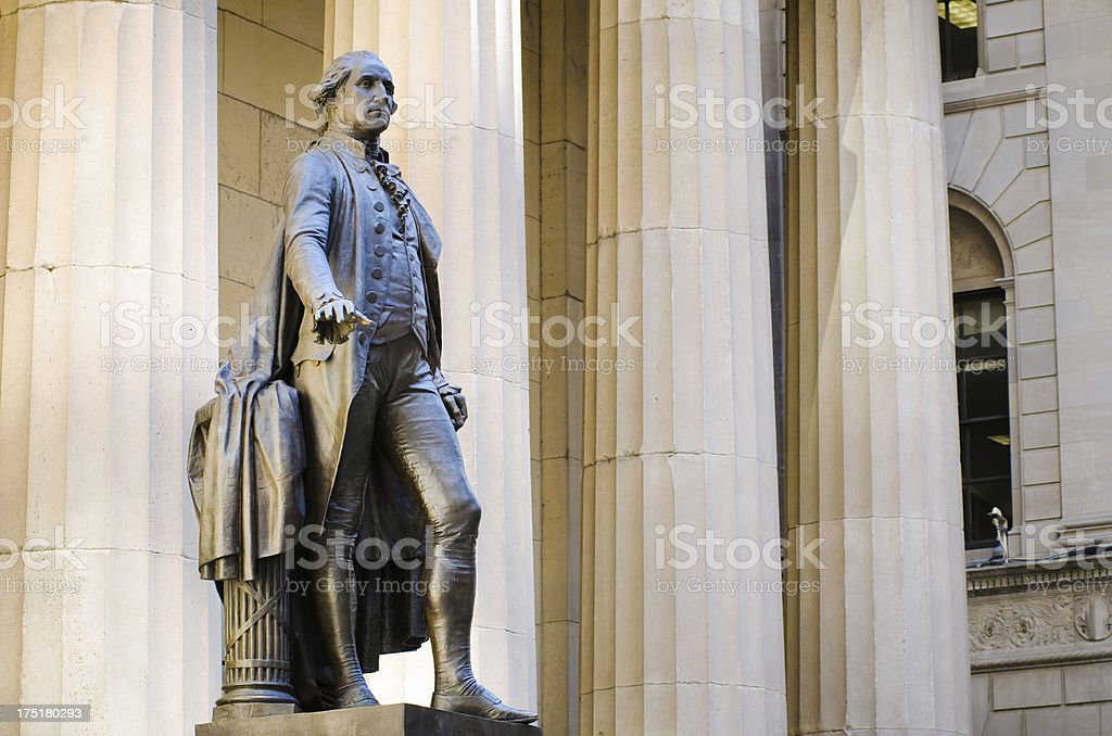 George Washington statue at Federal Hall in New York City stock photo
