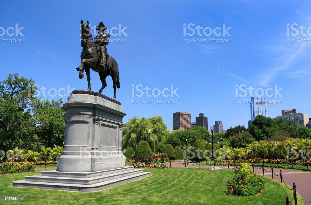George Washington statue at Public Garden in Boston stock photo