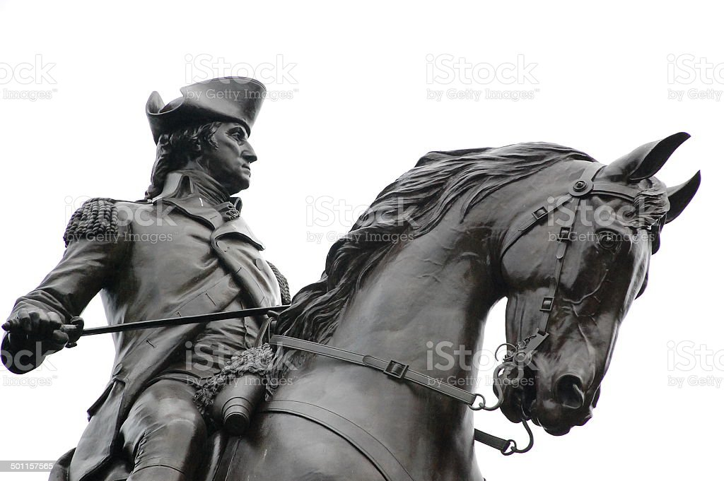 George Washington Statue Boston MA. stock photo