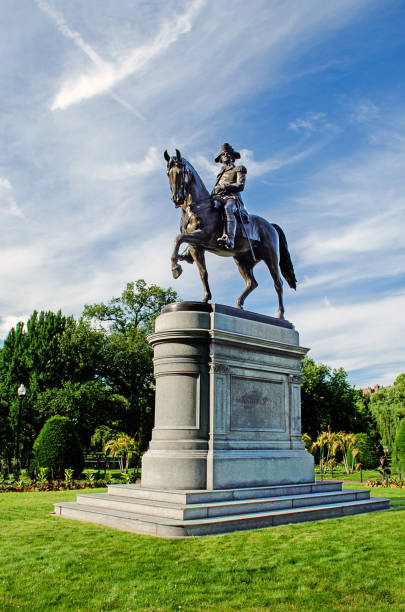George Washington Statue in Boston Commons Statue of George Washington riding a horse in Boston Commons Park westwood neighborhood los angeles stock pictures, royalty-free photos & images