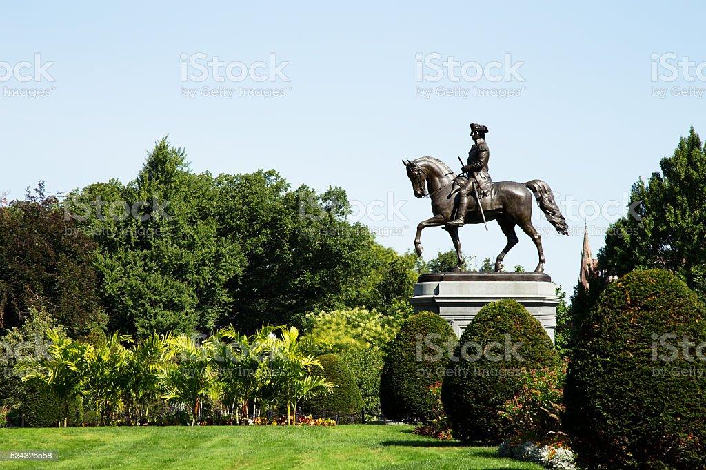 George Washington Statue in Boston Public Garden, Boston stock photo
