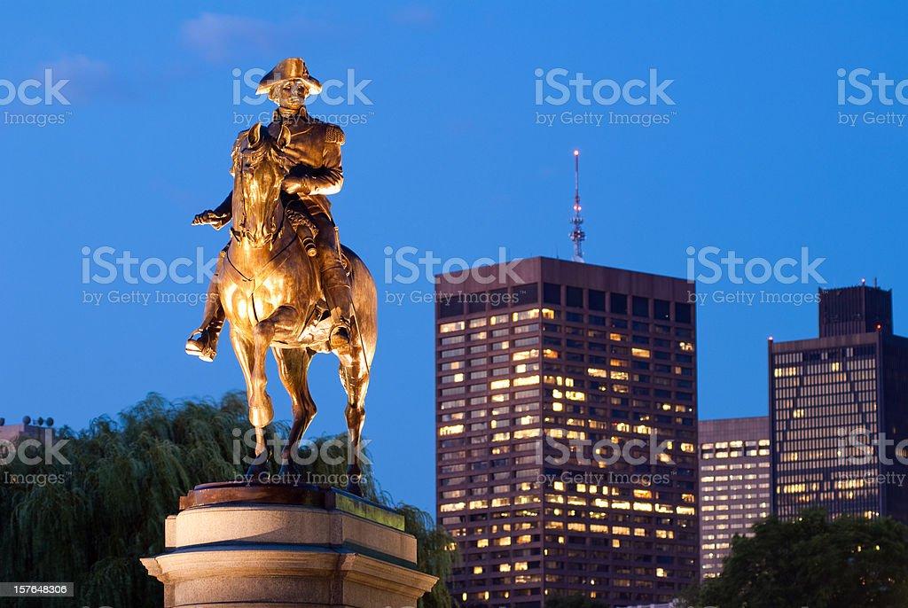 George Washington statue in Public Garden at night royalty-free stock photo